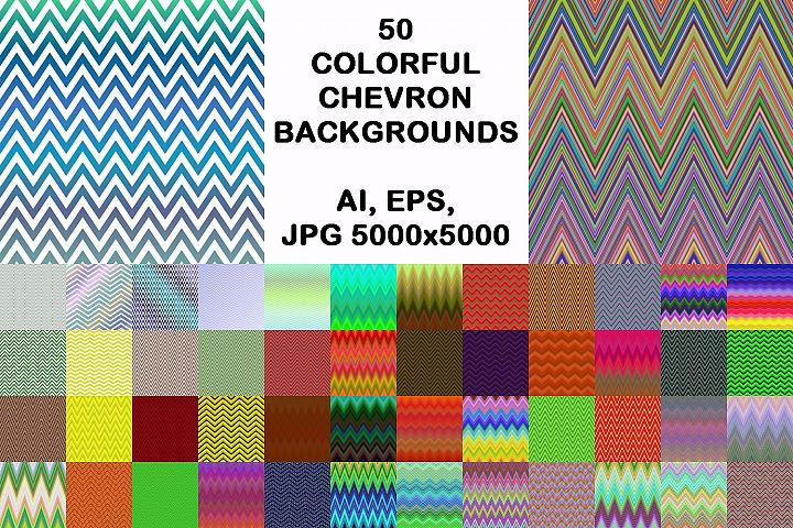 50 colorful chevron backgrounds (AI, EPS, JPG 5000x5000)