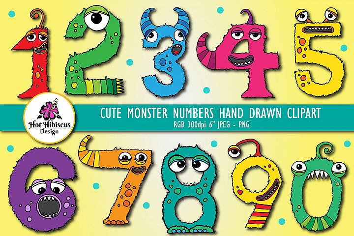 Cute Furry Monster Numbers Hand Drawn Graphics Clipart