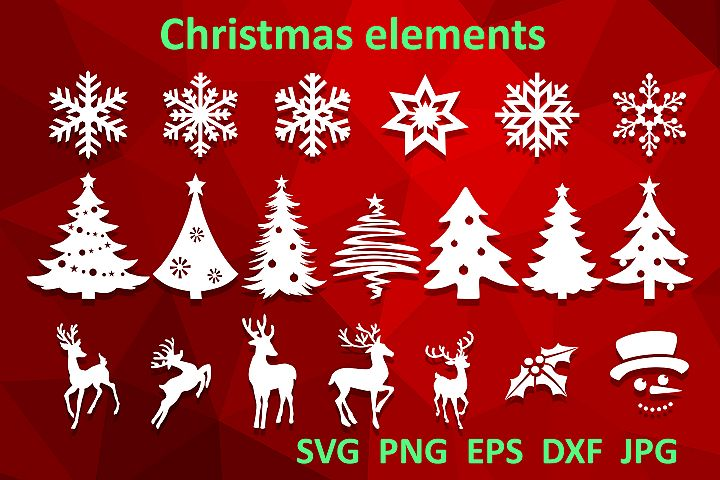 Christmas bundle svg Christmas tree Snowflake Reindeer