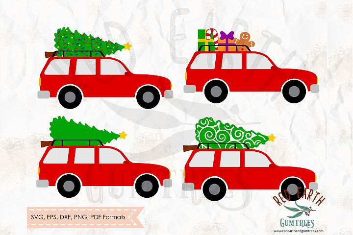Christmas cars bundle, christmas tree in SVG,DXF,PNG,EPS,PDF