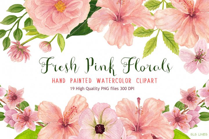Pink Floral Watercolors Hibiscus