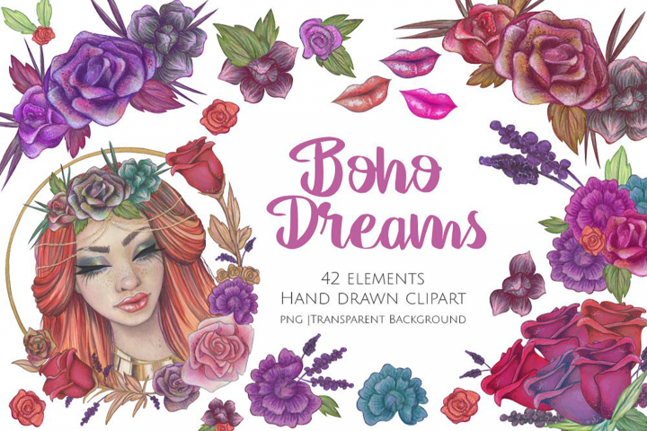 Boho Dreams Coloured Pencil Graphics and Clipart Set
