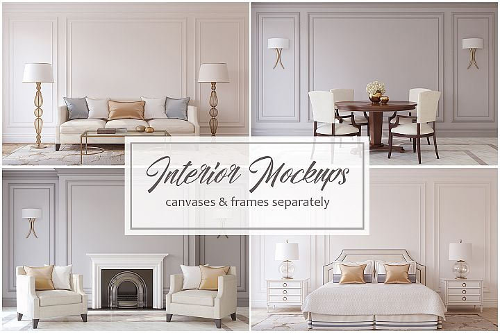 Neoclassical Style. Frames&Canvases Mockup.