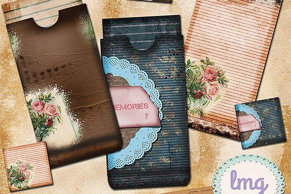 Vintage Memories Junk Journal Envelopes, Journal Cards