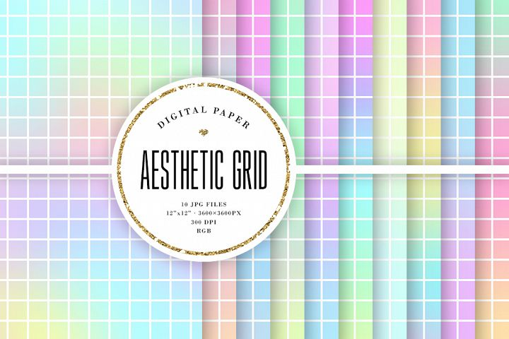 Aesthetic Grid Digital Paper - Big Grid Backgrounds