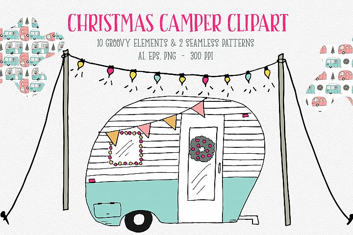 Christmas Camper Graphics, Retro Christmas Campers