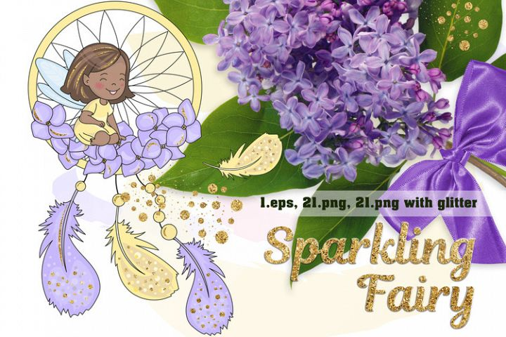 SPARKLING FAIRY Glitter Color Vector Illustration Set