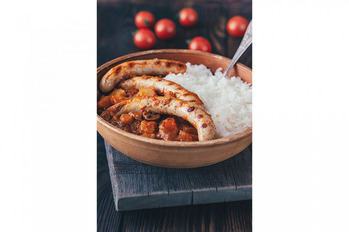 Thai red curry with sausages