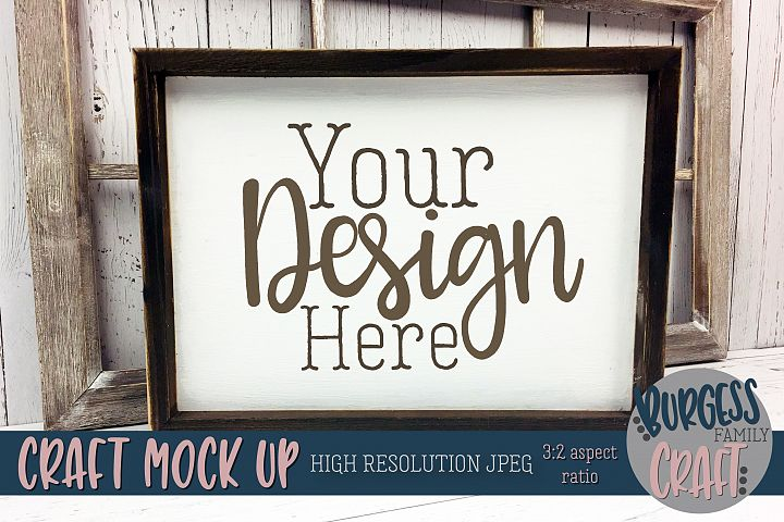 Rustic frame window Craft mock up |High Res JPEG