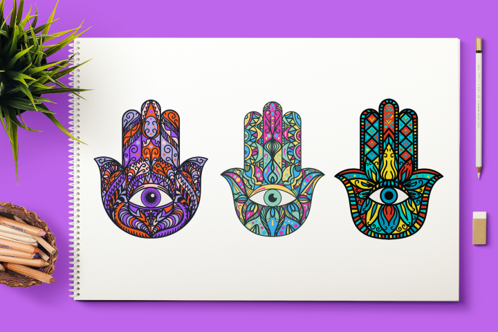 Bright Hamsa Hands Cliparts Set