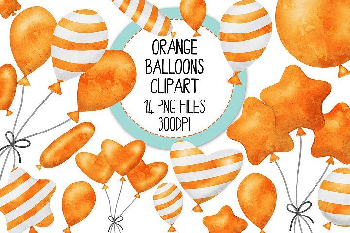 Orange Watercolor Balloon Clipart Set