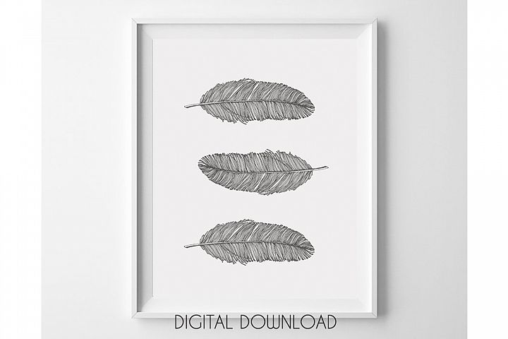 Gray Feathers Wall Art Printable, Bohemian Nursery Decor