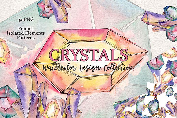 Platinum crystals watercolor png