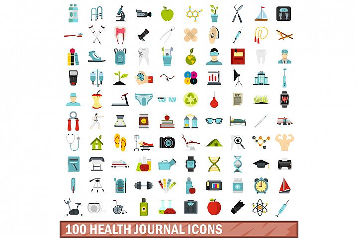 100 health journal icons set, flat style