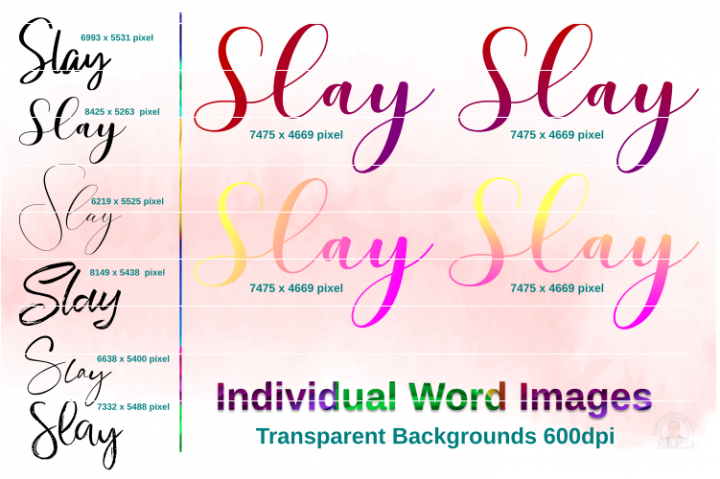 Slay Script Text Images Inc Ombre Style