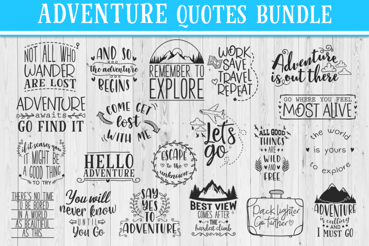 SALE! 20 Adventure quotes bundle, travel quotes svg