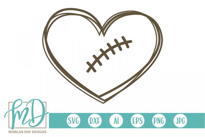 Football Heart - Football SVG, DXF, AI, EPS, PNG, JPEG