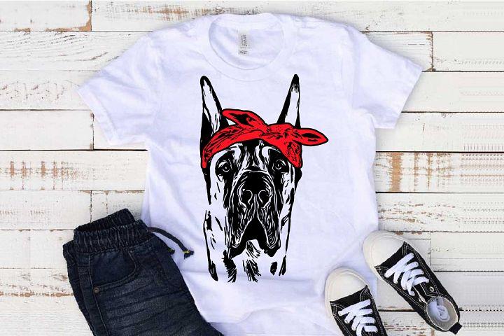 Great Dane whit Bandana svg dog Hound merica patriotic 1501