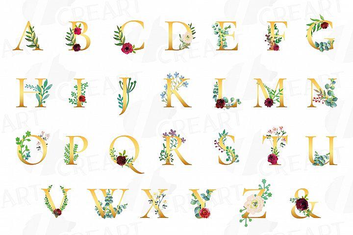Floral golden alphabet clip art, floral alphabet print