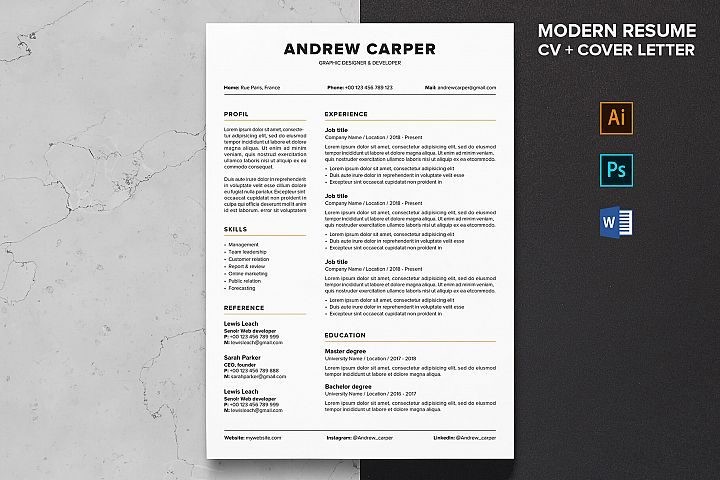 Resume | CV template Cover Letter