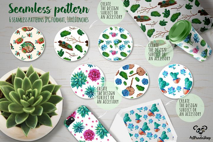 Succulent watercolor seamless pattern example
