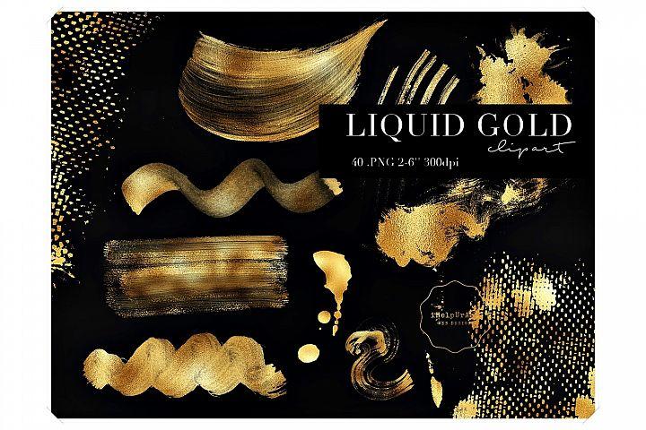Gold Paint Strokes Clipart - Liquid Gold