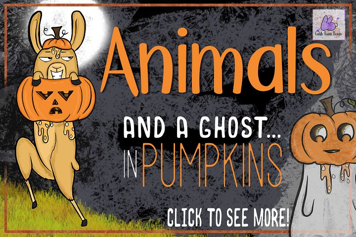 Halloween Animals in Pumpkins Clipart, Sublimation, Llama