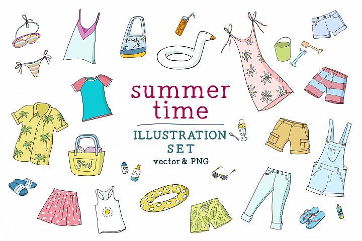 Summertime illustration set
