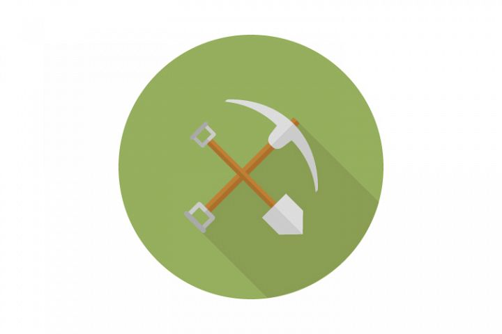 Shovel and pickaxe icon