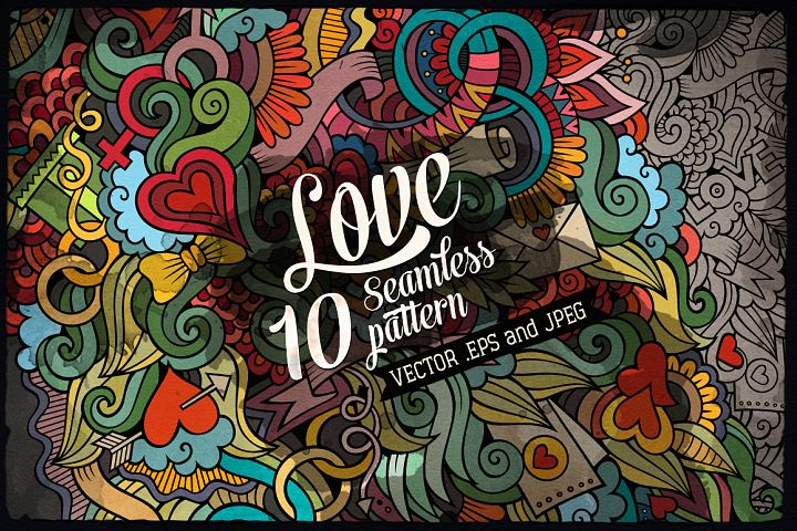 10 Love Doodle Seamless Patterns