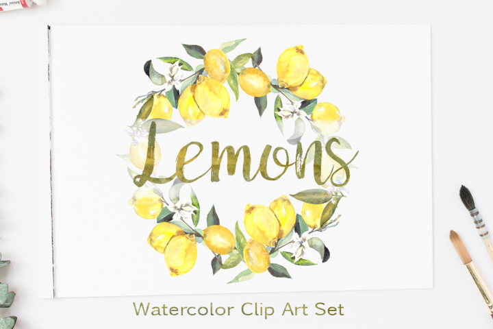 Watercolor Lemons Clip Art Set