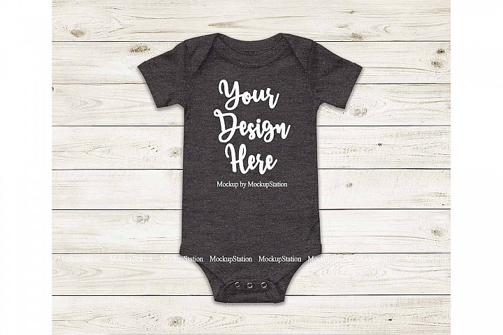 Baby Dark Heather Grey Bodysuit Mockup, Blank Toddler Tee