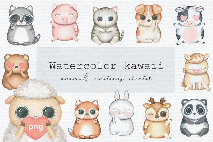 Watercolor kawaii
