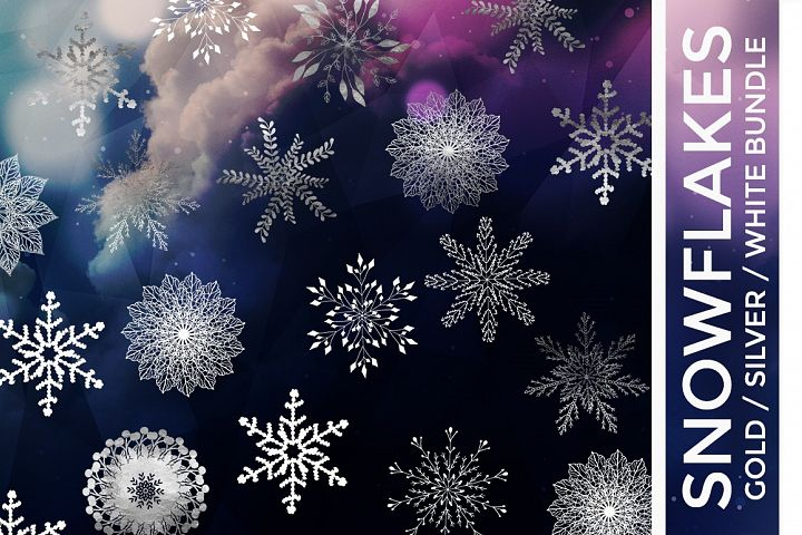 Snowflake Vector Bundle Gold Foil, Silver Foil & White