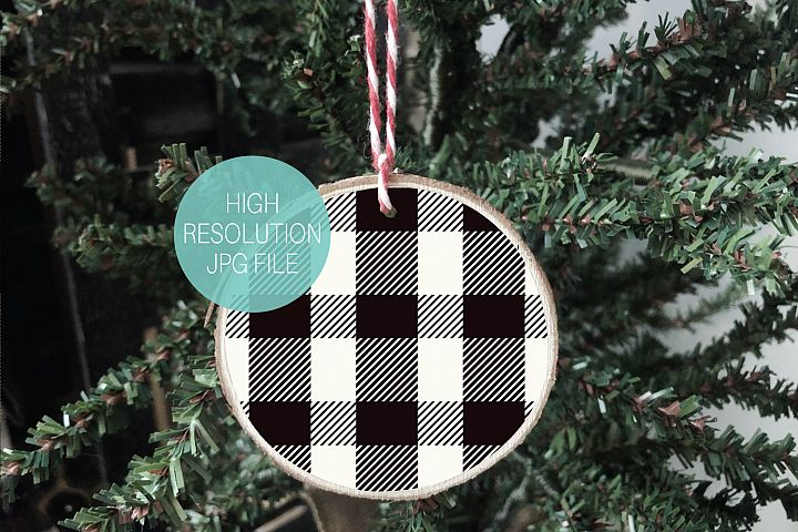Buffalo Plaid Round Wood Slice Ornament Mockup | Christmas