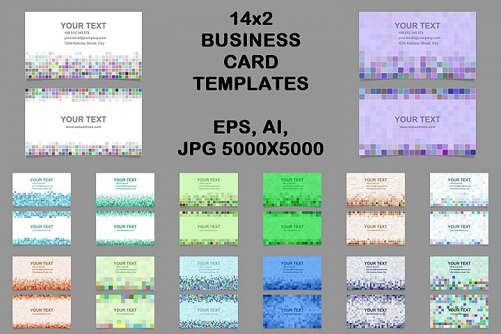 14x2 pixel mosaic business card templates (EPS, AI, JPG 5000x5000)