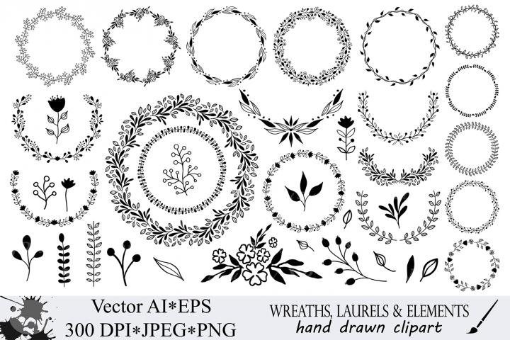 Hand drawn wreaths, laurels and design elements clipart
