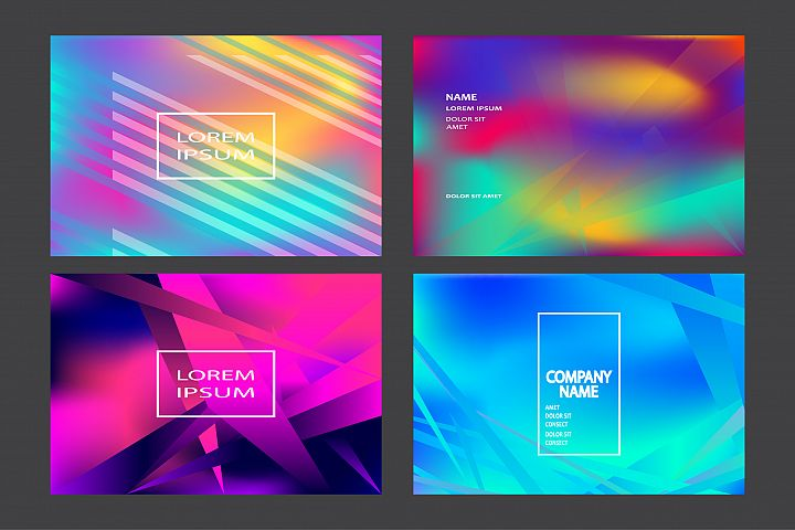 Fluid shapes wavy abstract backgrounds bright colors