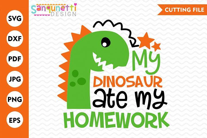 My dinosaur ate my homework svg, school, DXF, EPS, PNG