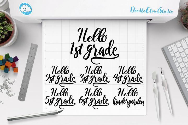 Hello Grade Bundle SVG, 1st Grade of School SVG, School PNG.