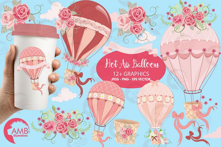 Hot Air Balloons, graphic, illustration, clipart AMB-1231