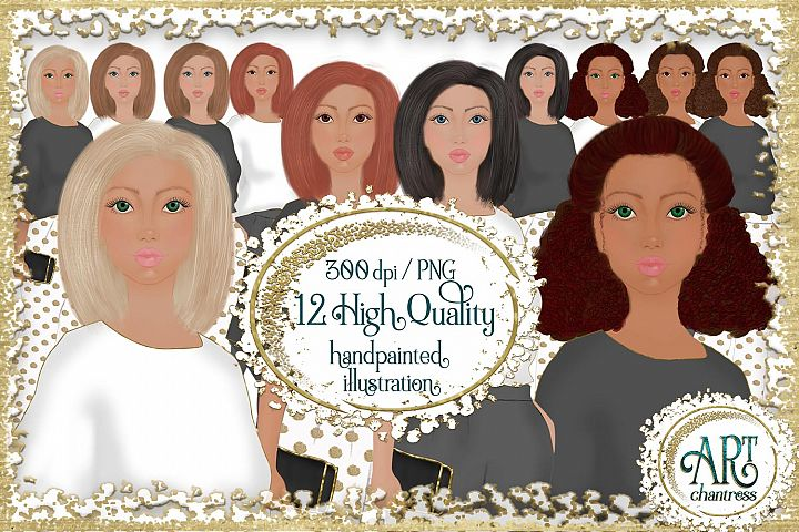 Lady Boss clipart,Afro fashion girl,stickers diy ,PNG