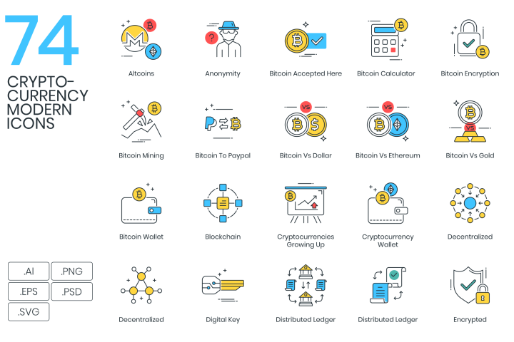 74 Modern Bitcoin & Cryptocurrency Icons