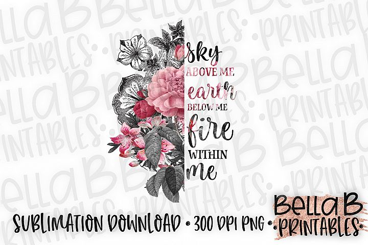 Floral Sublimation Design, Half Flower Sublimation, Boho