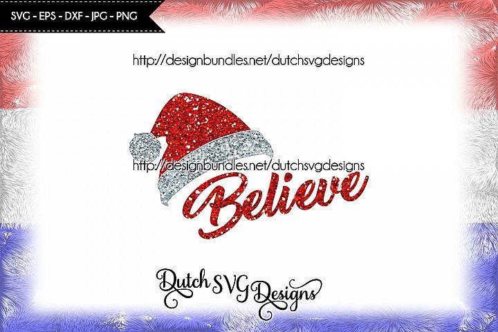 Cut file Believe with Santa hat, christmas svg, believe svg