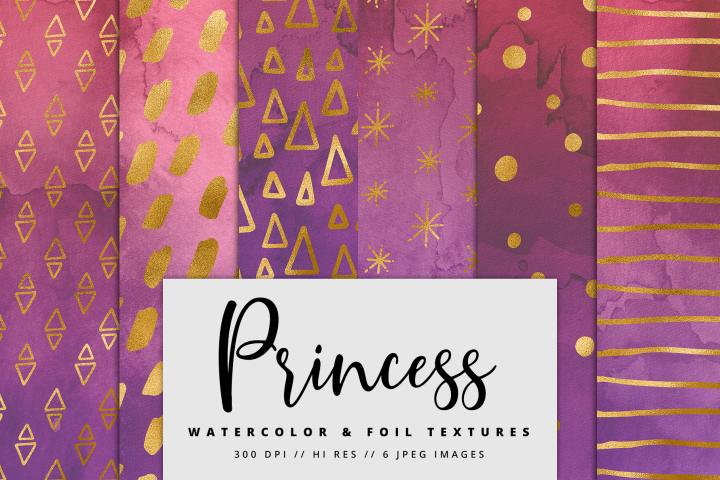 Princess Gold Watercolor Foil Textures | 6 Pack