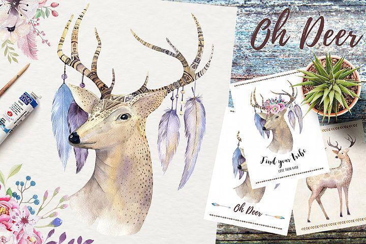 Watercolor deer and horns. Bohemian
