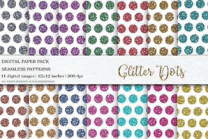 Glitter Dots Digital Papers, Geometric Patterns, Dot Pattern