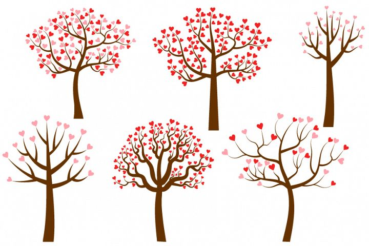 Trees with heart shaped leaves, Valentine love clipart
