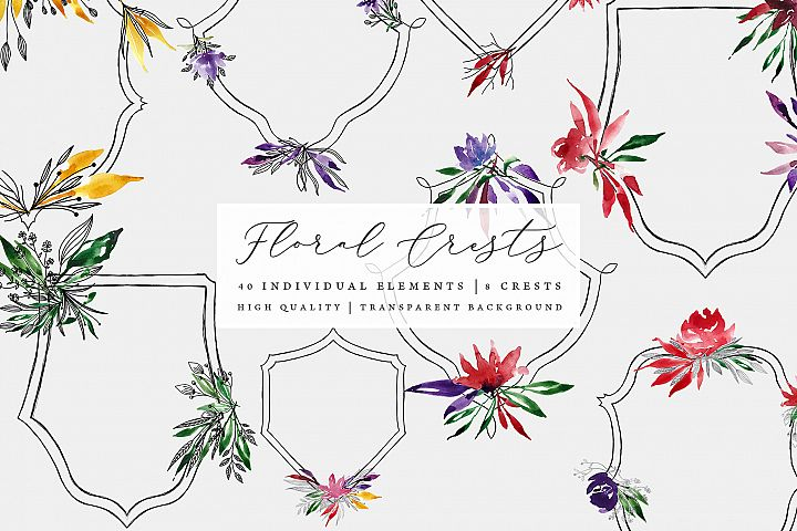 Floral Crests - Red, Purple, Yellow, Green Floral Clip Art